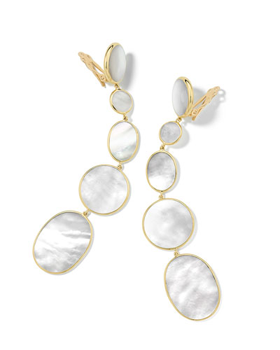 Polished Rock Candy 18k 5-Drop Clip Earrings, Mother-of-Pearl