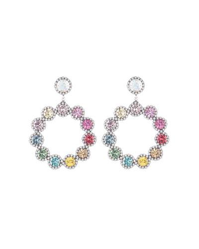 Bella Crystal Hoop-Drop Earrings