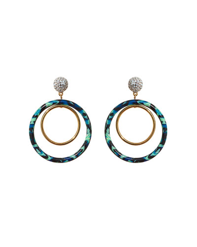 Pave Double-Hoop Drop Earrings