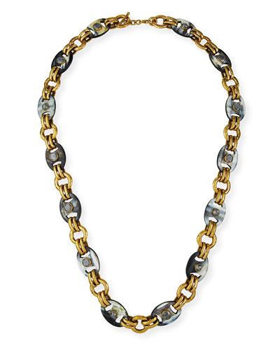 Long Dark Horn Mixed-Link Necklace
