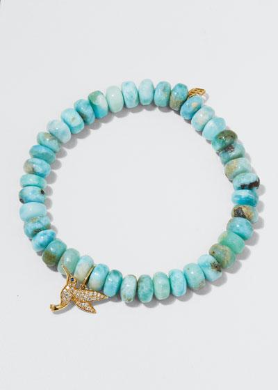 14k Larimar Bead & Diamond Hummingbird Bracelet