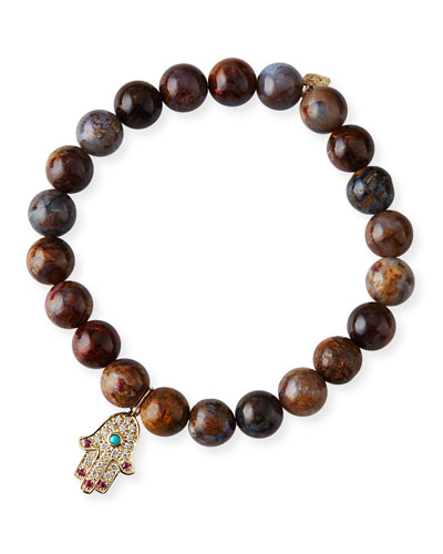 14k Diamond Hamsa Tiger Opal Bracelet