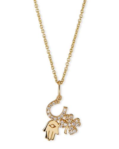 14k Diamond Luck & Protection Trio Necklace