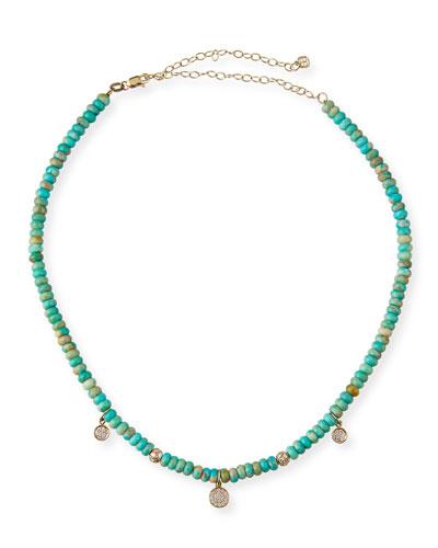 14k Diamond Baby Charm Turquoise Necklace