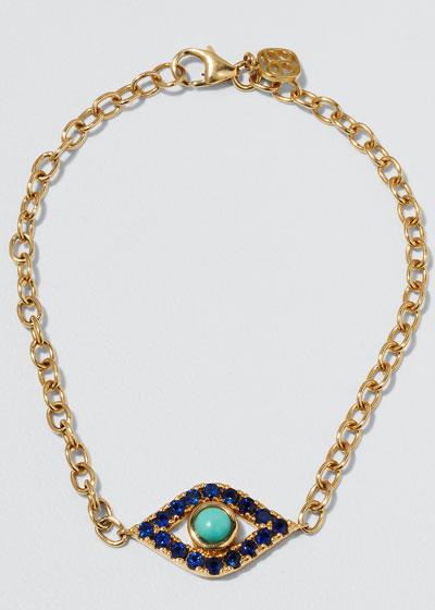 14k Diamond Eye Coin Labradorite Bracelet