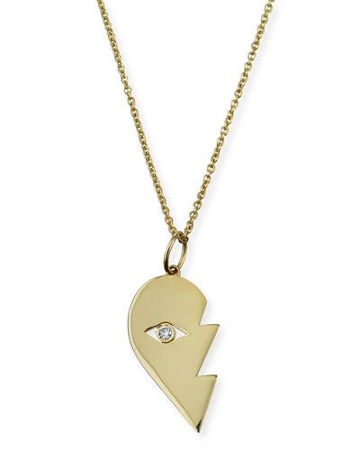 14k Split Heart Evil Eye Pendant Necklace, Right