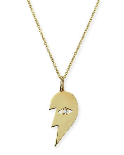 14k Split Heart Evil Eye Pendant Necklace, Left