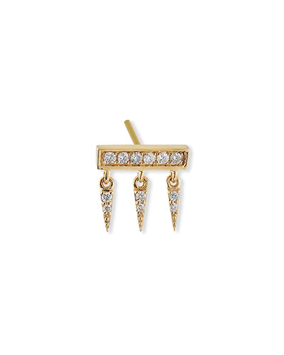 14k Diamond Pave Bar Fringe Stud Earring, Single