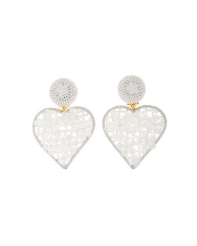Embellished Heart Clip Earrings