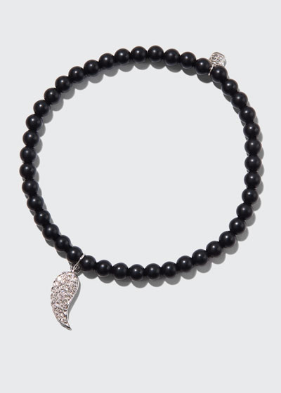 14k White Gold Diamond Wing & Black Onyx Bracelet