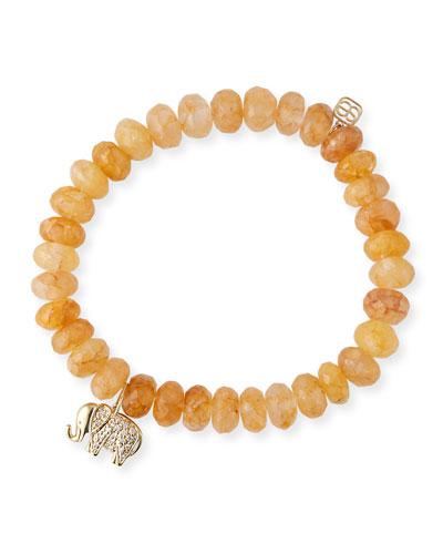 8mm Orange Quartz Bead Bracelet w/ 14k Gold Elephant Charm