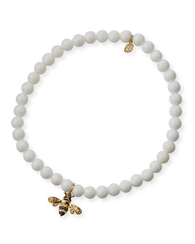 14k Diamond/Sapphire Bee & Seam Clam Bracelet