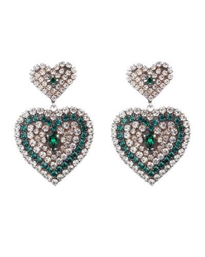 Amo Crystal Heart Earrings