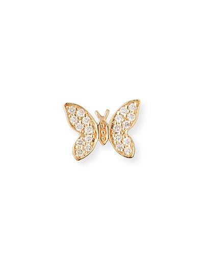 14k Diamond Tiny Butterfly Stud Earring, Single