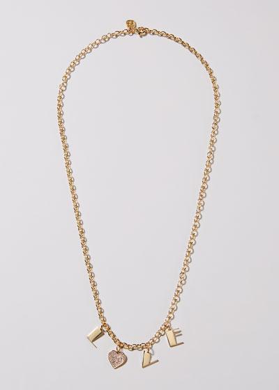 14k LOVE Charm Necklace w/ Diamond Heart