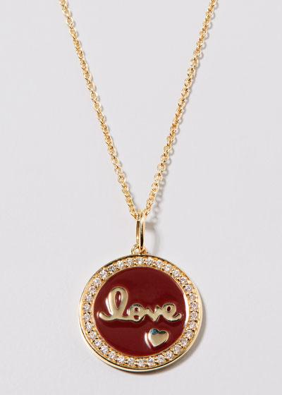 14k Diamond-Trim Love Script Medallion Necklace