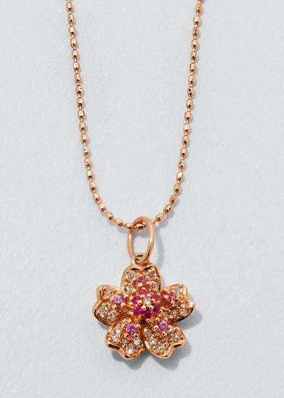 14k Rose Gold Sakura Pink Sapphire Necklace
