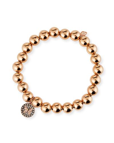 14k Rose Gold Diamond Small Butterfly Medallion Bracelet