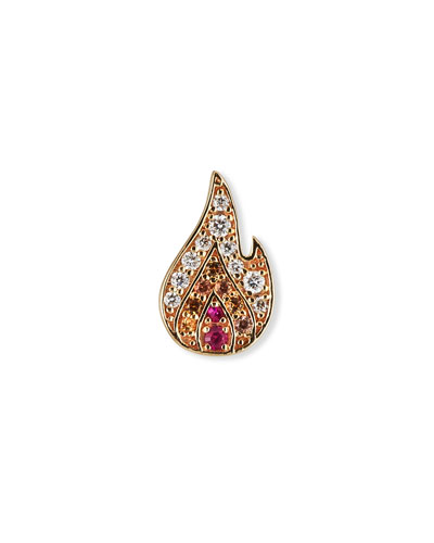 14k Small Pave Flame Stud Earring, Single, Left