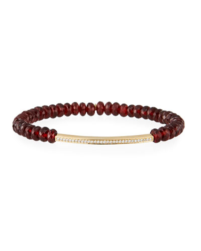 14k Garnet Bead Diamond Bar Bracelet