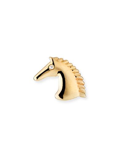 14k Diamond Horse Stud Earring, Left
