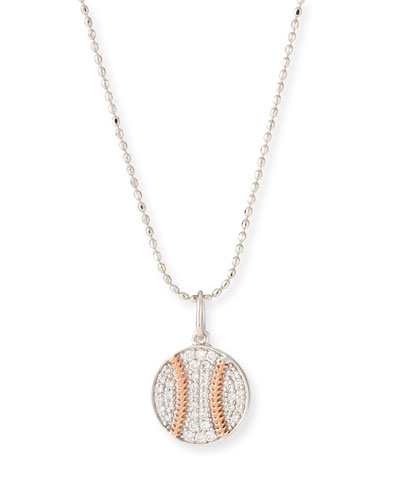 14k Two-Tone Diamond Baseball Pendant Necklace