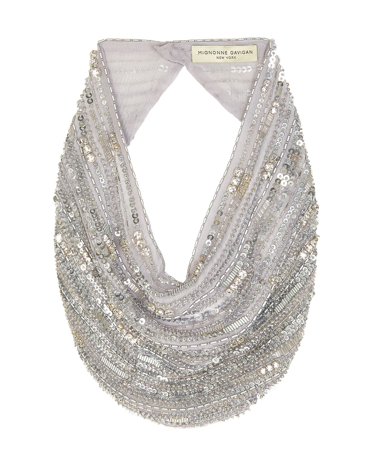 Mignonne Gavigan Accessories PERRY LE CHARLOT BEADED SCARF NECKLACE, SILVER
