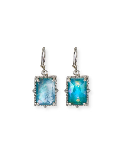 New World Hematite/Quartz Doublet Drop Earrings