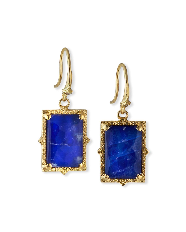 Armenta  OLD WORLD LAPIS/BLUE MOONSTONE RECTANGULAR DROP EARRINGS W/ DIAMONDS