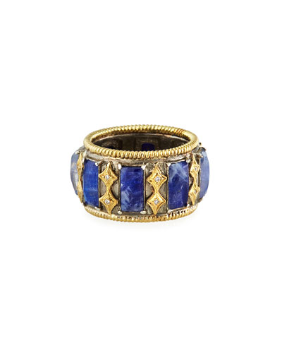 Old World Blue Doublet Diamond Crivelli Wide Ring, Size 7