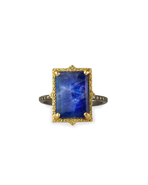 Armenta  OLD WORLD LAPIS/BLUE MOONSTONE RECTANGULAR RING W/ DIAMONDS