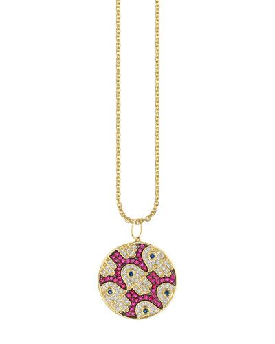 14k Diamond/Ruby/Sapphire Hamsa-Pattern Necklace