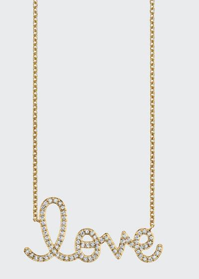 14k Yellow Gold Extra Large Diamond Love Script Necklace