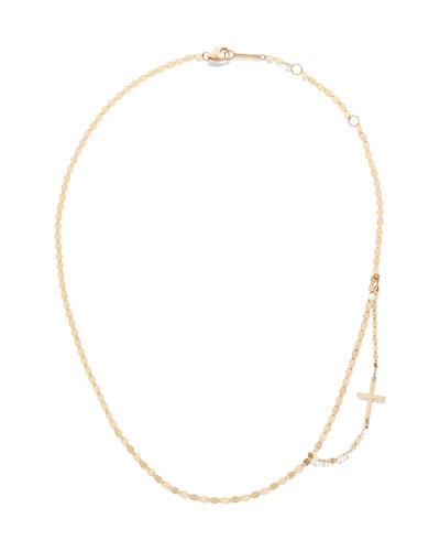 14k Double-Strand Side Cross Necklace
