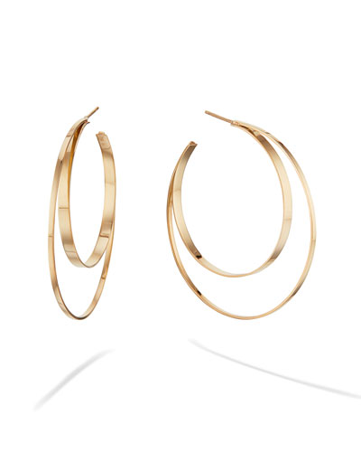 Mia Diamonds 14k White Polished Cable Link Circle Hoop Earrings