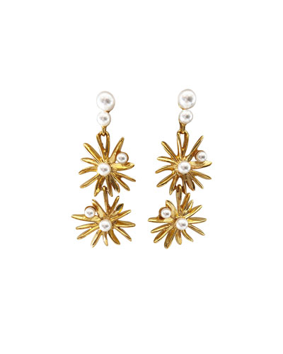 Classic Pearly Starburst Drop Earrings
