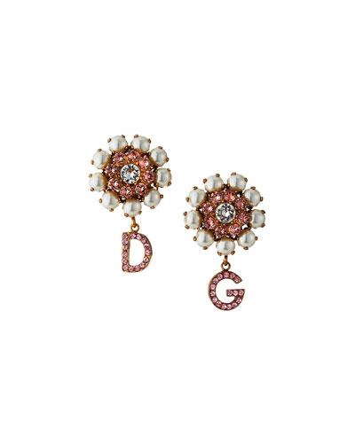 Floral DG Crystal Drop Earrings