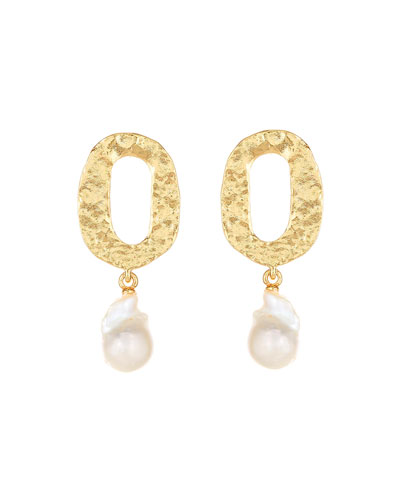 Hammered Pearl-Drop Clip Earrings