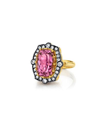 Pink Tourmaline Diamond-Trim Ring, Size 6.5