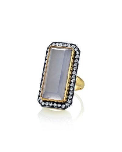 Chalcedony Diamond-Trim Ring, Size 7