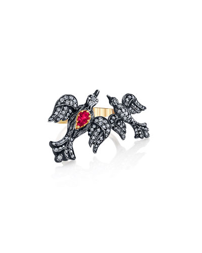 Mother-Child Diamond Bird Ring w/ Ruby, Size 7.5