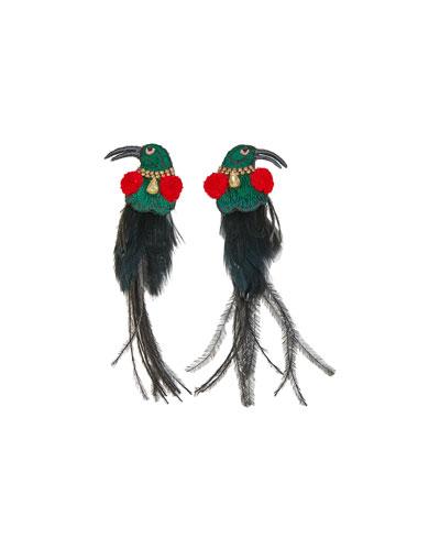 King Bird Feather Earrings