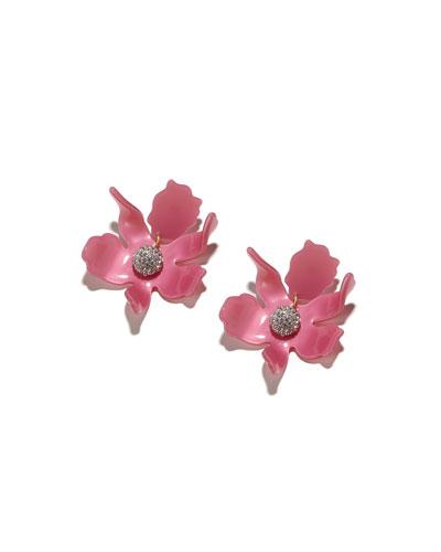 Crystal Lily Stud Earrings, Pink