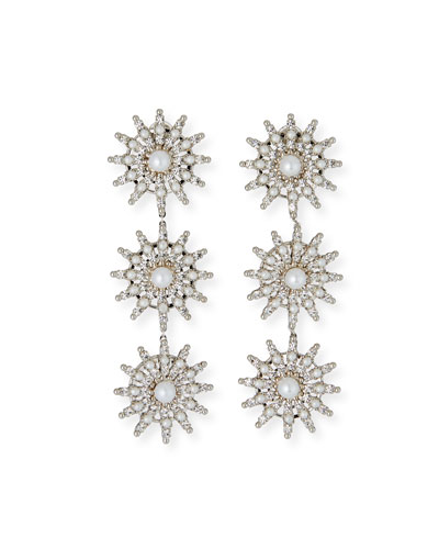 Pearly Crystal-Spike Linear Clip Earrings
