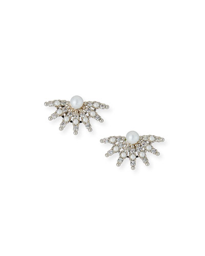 Pearly Crystal-Spike Clip-On Earrings
