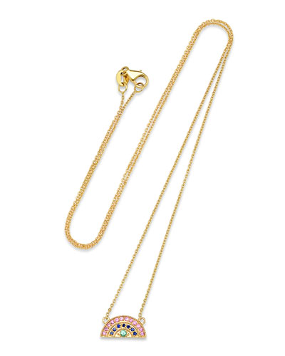 14k Mini Rainbow Pave Necklace