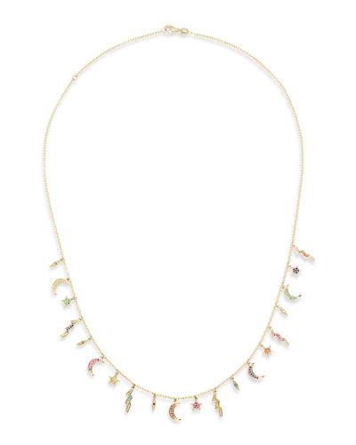 14k Multi-Element Sapphire & Emerald Necklace