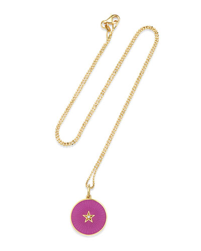 18k New Full Moon Necklace, Amethyst