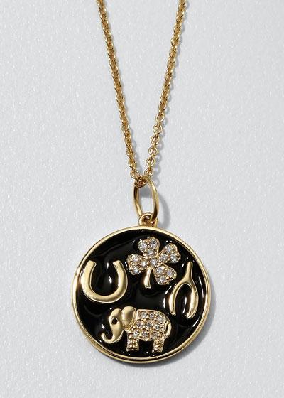 14k Luck Tableau Diamond Medallion Necklace, Black