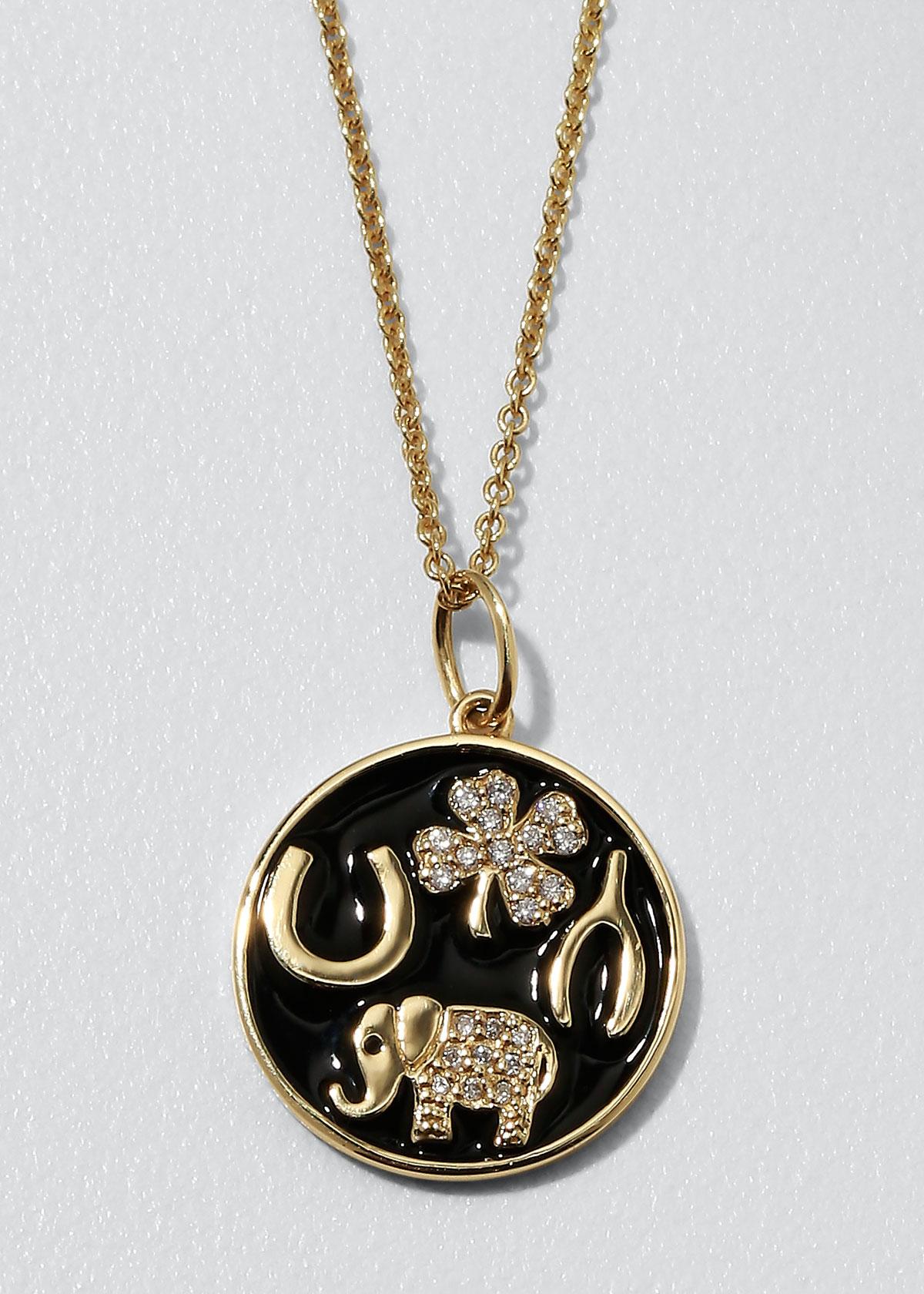 Sydney Evan Jewelries 14K LUCK TABLEAU DIAMOND MEDALLION NECKLACE, BLACK